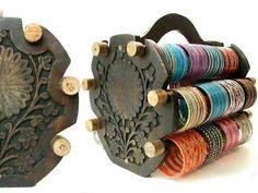 Amazing Indian carved wood bangle holder
