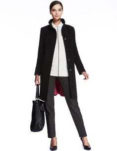 Autograph Funnel Neck Coat with Wool-Marks & Spencer in camel