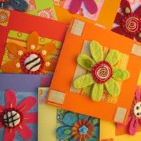 Cards with felted flowers. Designed by Peppina.