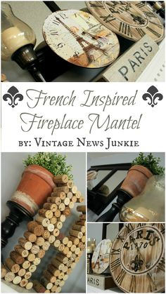 French Inspired Mantel - LOVE the clocks!