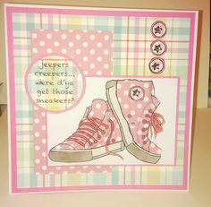 Woodware sneakers stamp Teenager Birthday, Homemade Birthday Cards, Craft Images, Star Cards, Unicorn Crafts, Masculine Cards, Kids Cards, Cute Cards, Hobbies And Crafts