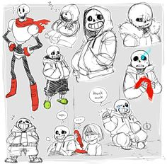 leeffi:  some sketches of sans, my favourite, smiley, trashbag son. (also papyrus and frisk)