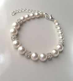 Pearl and Rhinestone Bracelet Pearl Bridal by AnaInspirations, $22.00