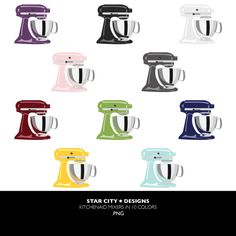 Kitchenaid Mixers in 10 colors Clip Art Clipart by StarcityDesigns, $4.00