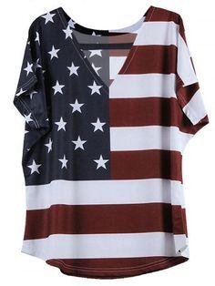 GET $50 NOW | Join RoseGal: Get YOUR $50 NOW!http://m.rosegal.com/t-shirts/stylish-v-neck-short-sleeve-flag-pattern-t-shirt-589617.html?seid=87ocja1nrg8l2a9jllcda8u844rg589617