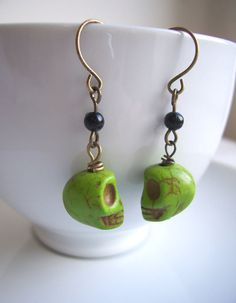 Avocado Green Skull earrings  turquoise and by themagpiesdaughter, $18.00