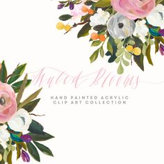Hand Painted Flower Clip Art Collection Muted Blooms