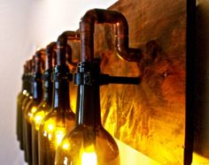 Wine Bottle Light Lamp - Industrial - Vanity - Sconce - Chandelier