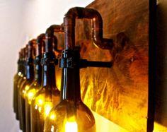 Wine Bottle Light Lamp - Industrial - Vanity - Sconce - Chandelier