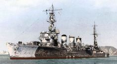 Colour photograph of the Japanese light cruiser Tama