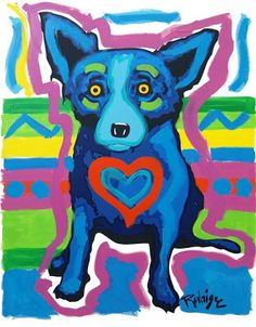 Musings of an Artist's Wife: Blue Dog: Mixed Media