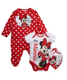Minnie Mouse Sleepsuit, Bodysuit and Bib Set. Add a fun pop of colour and cosy comfort to your baby's wardrobe with this cute Minnie Mouse sleepsuit set.