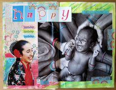 Day 1, 2013 #30DOC, @createstuff HAPPY BIRTHDAY Art Journal spread