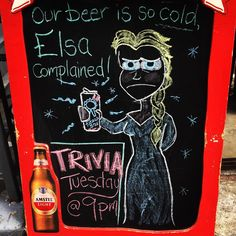 Our #beer is so cold, #Elsa complained. Don't forget, #TRIVIA is this Tuesday at 9pm!! #HappyHour every single day from noon til 7. Best deal in #NYC! #uws #upperwestside #frozen #chalkart #blackboardart #chalkdrawing #coldbeer #pbr #newyorkcity #irishpubnyc #disneyprincess #summer http://misstagram.com/ipost/1555945395523563771/?code=BWX1BfuFjD7