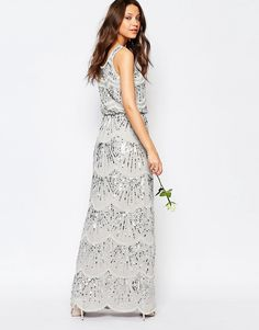 Image 2 ofMaya Tall Layered Maxi Dress With All Over Embellishment