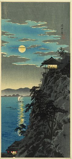 """Glittering Moon""   Shotei. Woodblock print                                                                                                                                                                                 More"