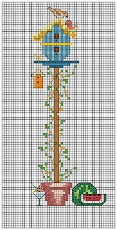 Cross-stitch Summer Birdhouse... no color chart available, just use pattern chart as your color guide.. or choose your own colors...