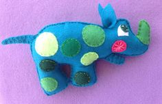 Rhino plush baby rattle by Ecotrinkets - Amy Monthei