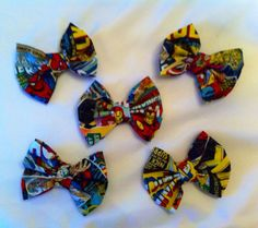 Pack of 5 - Marvel Superhero Small Fabric Hair Bows, Avengers, Spiderman, Thor, Iron Man, Hulk, Captain America, Wolverine, X-Men, Comics