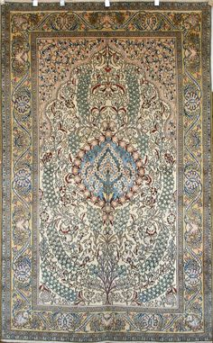 Persian Hand-Knotted Shahreza Rug in Wool & Silk - Ref: 1544 - 2.60m x 1.60m