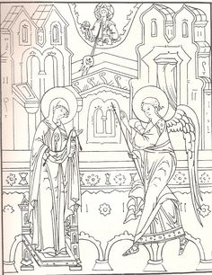 Russian manual for iconographers showing Christ over his mother's heart. Byzantine Icons, Byzantine Art, Religious Icons, Religious Art, Sunday School Coloring Pages, Linear Art, Paint Icon, Christmas Coloring Pages, Painting Process