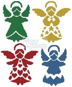 Artecy Cross Stitch. Angel Silhouettes Cross Stitch Pattern to print online.