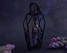 Crafted Witchy Art Wearables by LilaRune Wire Wrapped Pendant, Flower Pendant, Real Flowers, Coffin, Wire Wrapping, Lavender, Trending Outfits, Unique Jewelry, Handmade Gifts