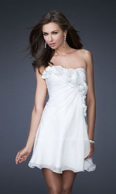 Strapless Short White Dress LF-16173