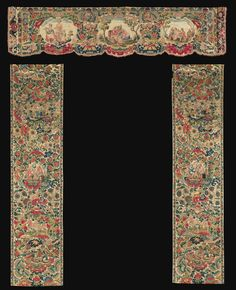 A FRENCH SILK AND WOOL EMBROIDERED DOOR VALANCE, SECOND HALF OF 17TH CENTURY