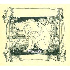 A drawing of a pretty gay nude boy reading a book, in a vintage style. From the gay art of Felix d'Eon