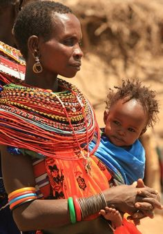 Maasai Woman and Child. Traditional dress of Africa Kenya Samburu.   #world #cultures