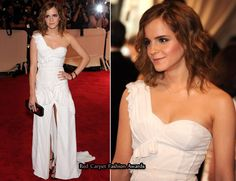 2010 Met Costume Institute Gala – Emma Watson In a custom Burberry. I've always loved this look. One shoulder gown. Sweetheart neckline. The slit is a little high, but it's such an interesting dress.