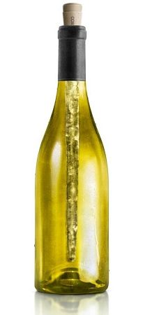 Placed inside the bottle, CORKCICLE chills the wine from the inside.