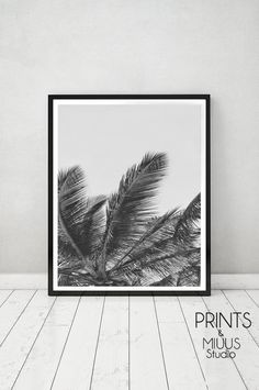 Palm Leaf Tropical Wall Art Print Beach by PrintsMiuusStudio