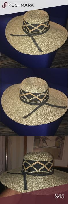 Karen Keith wide brim sun hat new size M Karen Keith wide brim sun hat. An original designed K Keith wide brim sun hat, classic style and color, comfortable fit. From surf to the turf, with a K Keith hat, you too will be the fashionable pretty woman on opening day at the track. New and never worn. Size M Karen Keith Accessories Hats