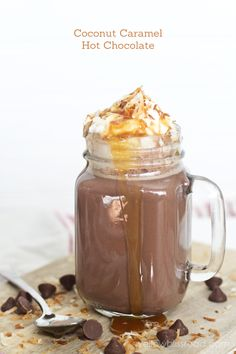 Coconut Caramel Hot Chocolate - tastes just like a Samoa Cookie!