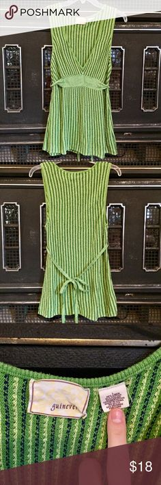 """Knitted empire waist tunic with tie Boho hippie tunic, 55% linen and 45% cotton, this top has a plunging v neck and covers most of my bum (I am 5'8""""). It is marked a size L but would also fit a medium with a larger bust. Tie belt attached. Mostly green with navy and yellow woven in as well. guinevere Tops Tunics"""