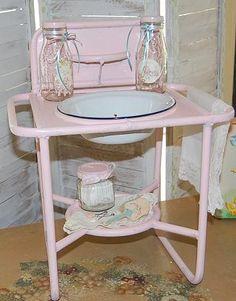 Child's Vintage Wash Stand-child's vintage wash stand, enamel basin, iron, nursery accessory, plant stand, 1940s, nursery decor, vintage toy, German wash stand