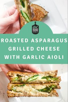 All the goodness of traditional grilled cheese but boosted with veggies and garlic aioli. Perfect for lunch or a quick weeknight meal. #grilledcheese #asparagus #healthyrecipe #recipes #easyrecipe Healthy Weeknight Dinners, Easy Meals, Garlic Aioli, Cooking Recipes, Healthy Recipes, Vegetarian Recipes Dinner, Asparagus, Dinner Ideas, Roast