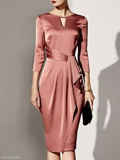 Shop Boat Neck Plain Bodycon Dress online with high quality and hurry to get fas. Cheap Dresses, Elegant Dresses, Beautiful Dresses, Dresses For Work, Amazing Dresses, Formal Dresses, Wedding Dresses, Tailored Dresses, Bodycon Dress Formal