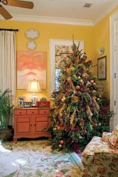 room in Paula Deen's home decorated for the holidays