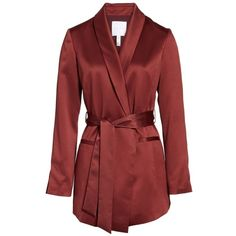 Women's Leith Belted Satin Jacket ($79) ❤ liked on Polyvore featuring outerwear, jackets, retro jackets, satin jacket, satin sash belt, belted jacket and red sash belt