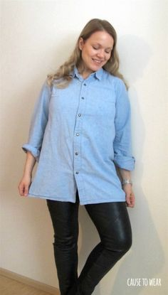 Diy chambray shirt from men's button up. More pics and details on the blog.