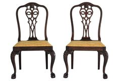 Carved 19th-C.  Side Chairs, Pair