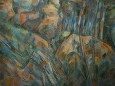 """CEZANNE,1904 - Rochers près des Grottes, au-dessus du Château-Noir (Orsay) - Detail 10  -   TAGS / art painter peintre details détail détails detalles painting paintings peinture peintures 19th 19e """"peinture 19e"""" """"19th-century paintings"""" tableaux Paris sun Provence France landscape Nature bleu blue ciel """"ciel bleu"""" """"blue sky"""" sky rocher rock rocks tree trees arbres arbre nature forêt forest pins pines """"pine trees"""" """"pine tree"""" orange ocre ochre Sud Southern """"Southern France"""" caves"""
