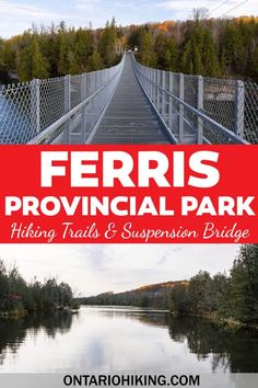 Ferris Provincial Park is a really awesome place to go hiking, biking, camping, or enjoying nature. Walk across the impressive Ranney Gorge Suspension Bridge and explore 10km of trails in Campbellford, Ontario, Canada. Hiking in Kawarthas Northumberland | Ontario Hiking | Hiking in Ontario Canada | Hiking at Ferris Park | Ferris Provincial Park Suspension Bridge | Hiking Trails Near Peterborough | Hiking Trails in Central Ontario | Best Ontario Hikes | Ontario Parks Go Hiking, Hiking Trails, Canada Travel, Travel Usa, Quebec, South America Travel, North America, Central America, Vancouver