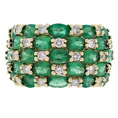 Emerald Diamond Gold Multi Row Ring | From a unique collection of vintage cluster rings at https://www.1stdibs.com/jewelry/rings/cluster-rings/
