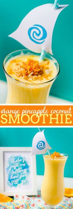 """Moana, Consider the Coconuts"" Orange Pineapple Coconut Smoothie Recipe - A flavorful, citrus smoothie that will make you think sun and warmth all year long! A perfect summer smoothie! 