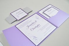 Elelgant Swirl Pocketfold Wedding Invitation with Lavendar Pocketdfold, Silver Belly Band, Crystal Cardstock and Purple Ink Color.