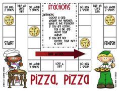 First Grade a la Carte: fractions Pizza Fractions, Teaching Fractions, Simplifying Fractions, Fun Math Games, Math Activities, Fraction Games, 1st Grade Math, Grade 1, Third Grade